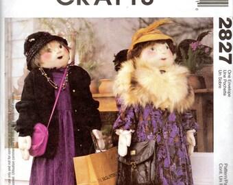 Lady Shopper Dolls & Doll Dress Pattern - 4 feet tall- McCall's Crafts 2827 uncut