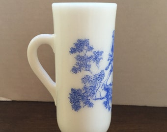 Vintage Avon Blue Toile Mug/Vase, Country Scene
