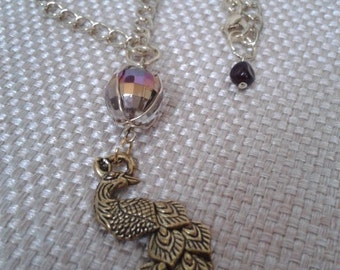Art Nouveau, Antique Gold Peacock with Wire Wrapped Irredesient Swarovski Crystal Necklace and Antique Gold Chain Link Jewelry
