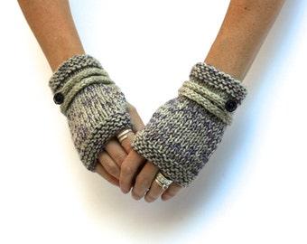 Oatmeal and Purple Fingerless Gloves - Hand Knit Gloves - Wool Gloves - Button Gloves - Short Gloves - Merino Gloves - Ombré Gloves - Boho