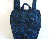 Small backpack- Black, blue and grey marbled cotton