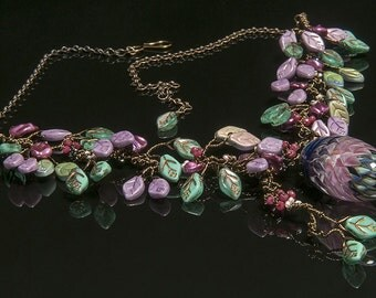 Teal and Mauve Statement Necklace, Pink Purple Green Bib Necklace with Lampwork Bead, Nature Jewelry