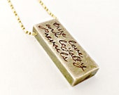Gold Bar Necklace Personalized Raw Brass Hand Stamped with Custom Words, Phrase - Trendy Bar Necklace -Vintage Rustic Jewelry