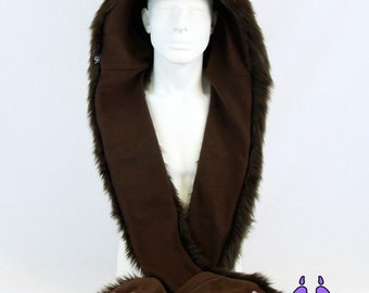 Pawstar Furry KITTY cat Hood Fur embroidered paws u choose color theme scoodie fox Scarf Hat warm handmade snowboard mens womens 1775