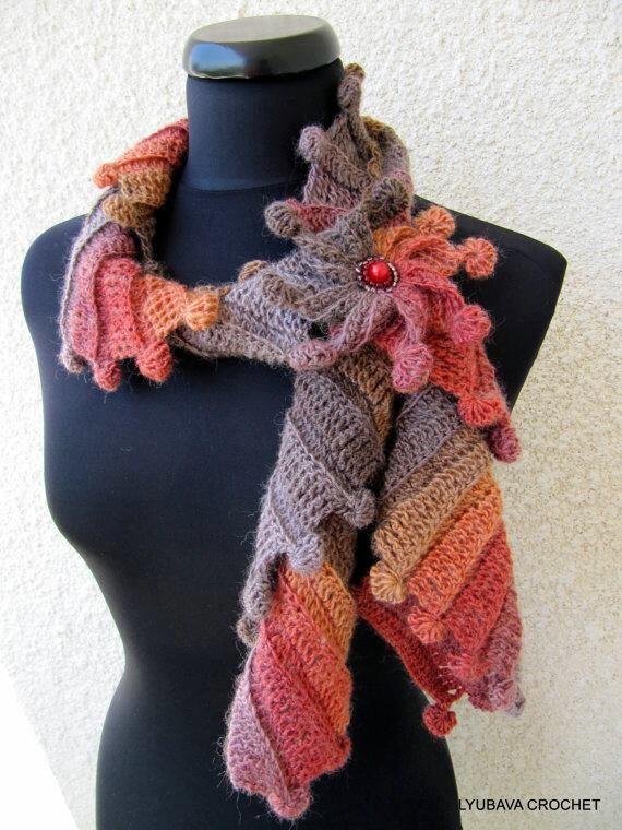 CROCHET SCARF PATTERN, Multicolor Scarf Fantasy, Crochet Pattern Scarf, Flower Tutorial Instant Download Lyubava Crochet Pdf Pattern No.88