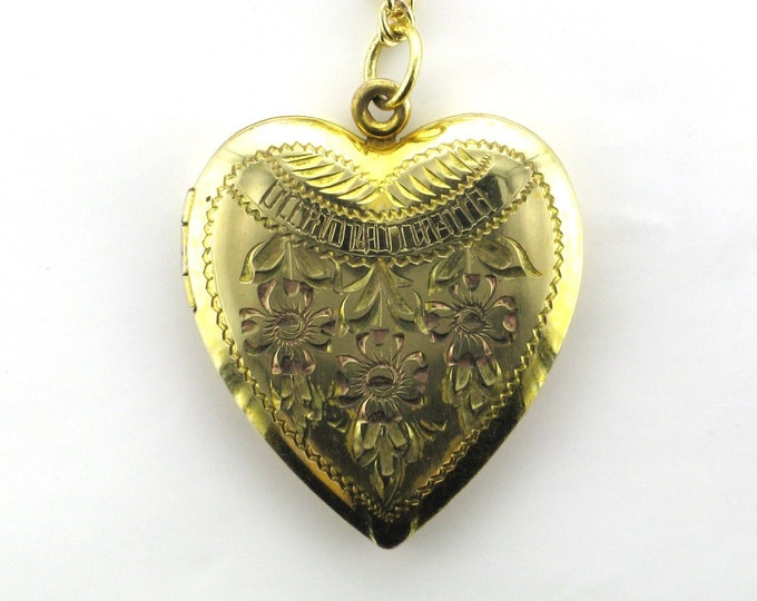 Gold Filled Heart Shaped Locket with Gold Tone Chain, Blue Glass Beads and Faux Pearls; Heart Locket; Locket for Photos; Family Keepsake