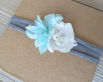 Teal Turquoise Aqua and Gray Newborn Stretch Headband for Baby Girl - Newborn to 6 months - Ready to Ship