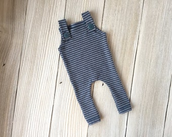 Blue and Gray Striped Newborn Romper Long Pants Overalls for Baby Boy - Ready to Ship - Overalls with Buttons