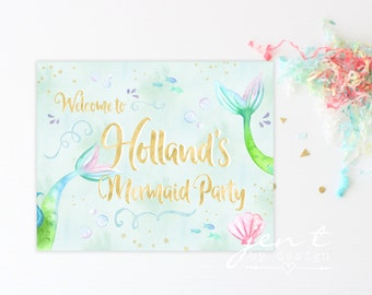 Personalized Mermaid Party Sign