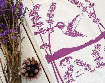 Flour Sack Towel -  Screen Print Tea Towel - Kitchen Towels  - Tea Towel Flour Sack - Cotton Dish towel - Hummingbird lavender - Spirit Ojai