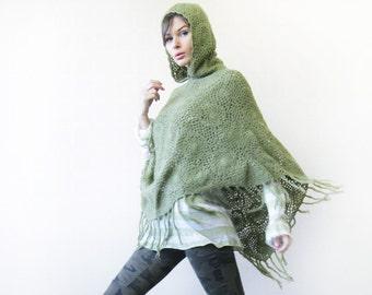 Vintage green wool knit lace crochet fringe hem hood cape coat poncho shawl wrap
