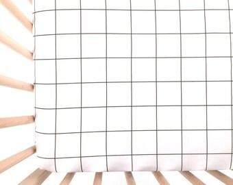 Crib Sheet Black Grid. Fitted Crib Sheet. Baby Bedding. Crib Bedding. Crib Sheets. Black and White Crib Sheet.