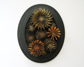 Book Paper Sculpture - Waxed Paper Cogs No7 - Oval Framed Art - Paper Succulent - Neutral Home Decor - Contemporary Art - Black Wall Decor