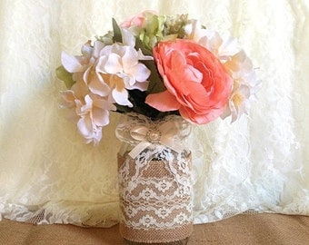 ON SALE burlap and lace covered mason jar vases - wedding decoration, bridal shower decoration, country chic decoration