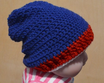 Baby Hat, Slouchy Hat, Crocheted Baby Hat, Red White and Blue, 18 to 24 months