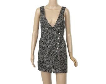 Wrap Romper - Plunging Neckline Mini Hemline 90s Grunge Dress Pearl Minimalist Playsuit Shorts Black Floral SKORT WRAP Black White Swirls