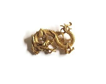 Vintage Vogue Jewelry Gold Oriental Dragon Brooch