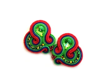 Clip on Earrings - Soutache Earrings - Valentines Day gift for girlfriend - Gift for wife Gift for sister Gift for friend Gift for coworker