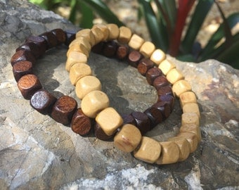 Wooden Beaded Bracelet Dark Brown or Ivory for Men and Women