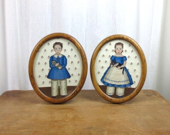 Vintage Cross-Stitch Hipster Kids with Pets in Round Oak Frames / Set of Two / Boy and Girl with Cat and Dog