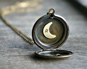 Initial Moon Locket Necklace / Custom Brass Vintage Locket with Hand Stamped Crescent • Valentines Day Jewelry • Gift for Her