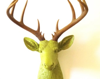 Faux Taxidermy CHARTREUSE Natural-looking antlers XL Deer Head wall mount wall hanging / stag / buck / faux animal head / woodland / nursery