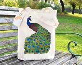 Peacock Tote Bag, Ethically Produced Reusable Shopper Bag, Cotton Tote, Shopping Bag, Eco Tote Bag, Reusable Grocery Bag