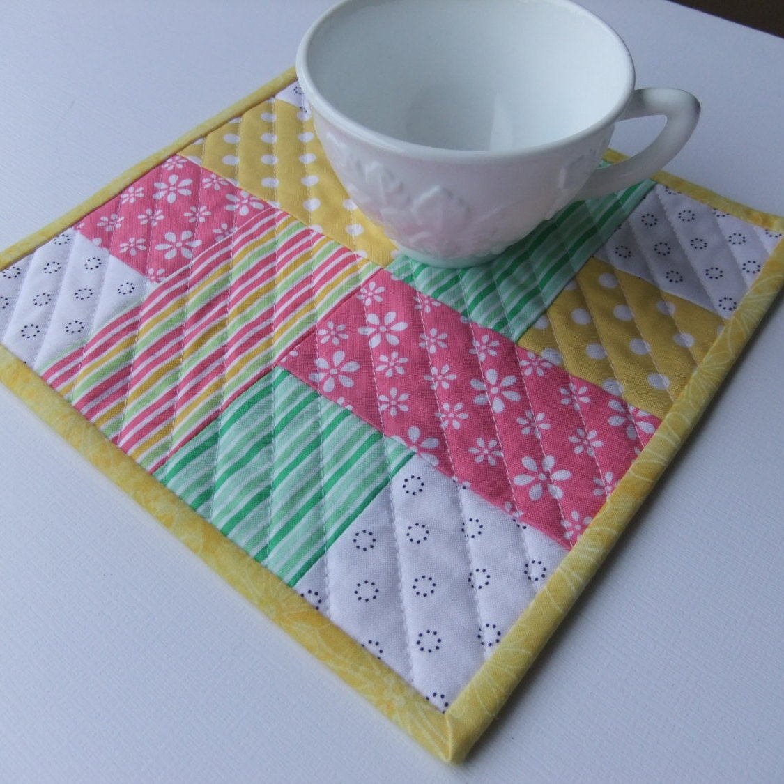 Quilted Mug Rug Spring Colors Large Coaster Gift For Her