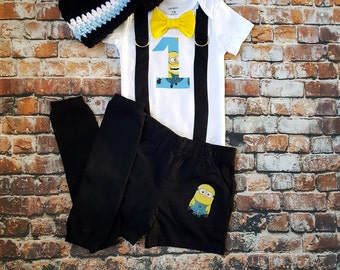 Minion Inspired Bow tie and Suspenders Bodysuit with Shorts, Boys 1st Birthday, First Birthday, Yellow One Eyed Minion, Baby boy