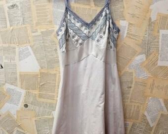 Vintage Cotton Slip Dress - Dusty Blue