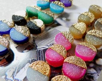 ON SALE druzy stud earrings, druzy earrings, gold earrings, gold stud earrings, gifts for her, electroformed jewelry
