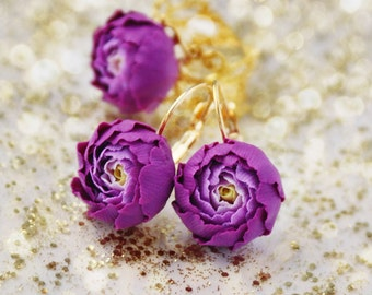 Womens gift idea, purple jewelry set, purple flowers jewelry set, gift idea, gift for woman, gift for her, earrings and ring, peonies