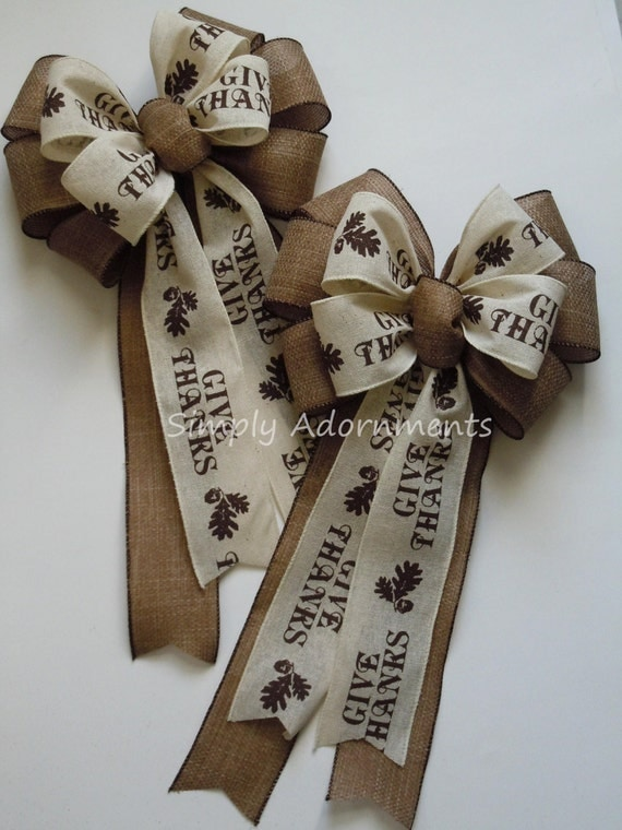 Brown Rustic Burlap Thanksgiving Wreath Bow Give Thanks Scripts Bow Fall Autumn Acorn Oak Leaf Bow Holidays Thanksgiving Home Decoration Bow