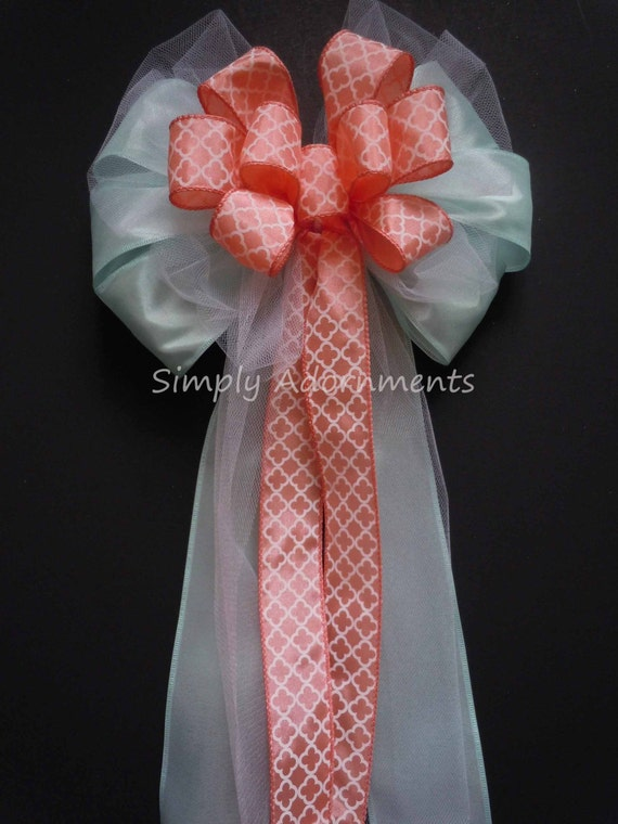 Mint Coral Wedding Pew Bow Mint Coral Quatrefoil Wedding Bow Green Orange Church Pew Bow Coral Mint Wedding Ceremony Decor Summer Chair Bow