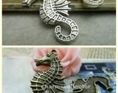 20PCS antique silver/ antique bronze 20x38mm seahorse charm pendant wholesale jewelry findings