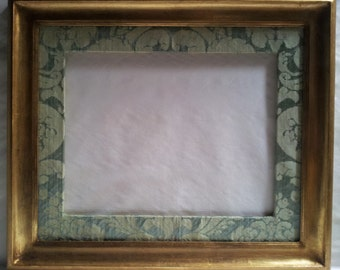 """11"""" x 14"""" Gilt Gold Leaf Wooden Picture Frame with Silk Damask Rubelli Fabric Hand-Wrapped Passepartout Jade Ruzante Pattern - Made in Italy"""