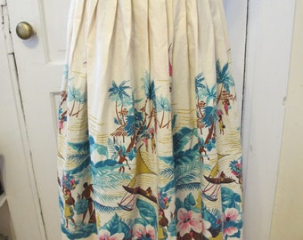 1950s Island Theme Border Print Novelty Skirt  24W