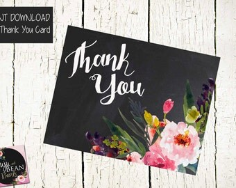 INSTANT DOWNLOAD-Floral Thank You Card- Chalk Thank You Card-Printable Thank You Card