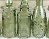 10 Green Glass Bottles 5 Inches Tall Bottle Collection Green Glass Olive Bottles Bottle Collection Wedding Favor Vintage Wedding