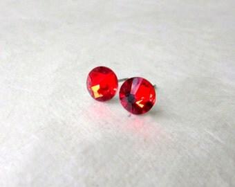 Red Stud Earrings. Swarovski Crystal Earrings. Small 7mm Rhinestone Earrings. Red Stone Post Earrings Hypoallergenic Surgical Steel Earrings