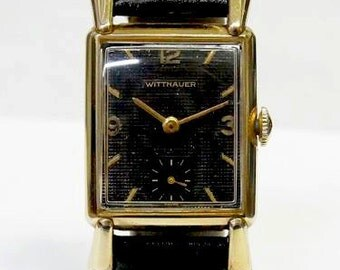 Vintage, Wittnauer wrist watch, mens, Retro style, Texture dial, 10k, yellow Gold filled