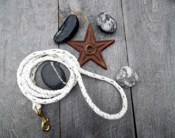 The White Wooly Large / Med Breed Leash. Handmade Salvaged Nautical Dog Leash. 2 dollars donated for every purchase!