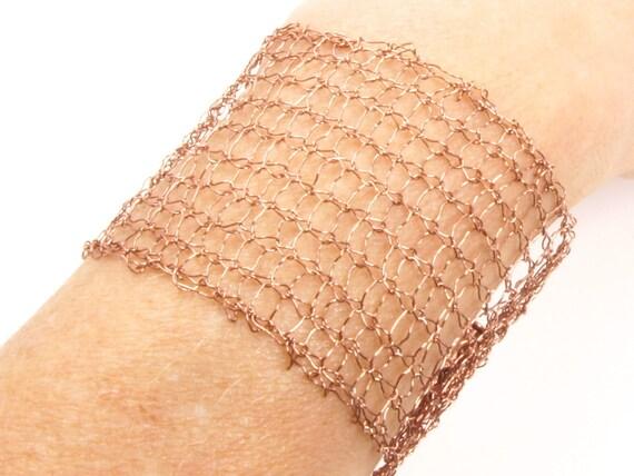 Copper Mesh Cuff - Wide Copper Bracelet - Custom Bracelet Cuff - Copper Cuff Bracelet for Women - Cuff Bracelet for Birthday- Copper Jewelry