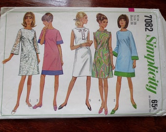 Simplicity 7082 Commerical Sewing Pattern, 1967 Simplicity Size 18 Misses Dress Pattern, 1960s Simplicity Misses Dress Sewing Pattern