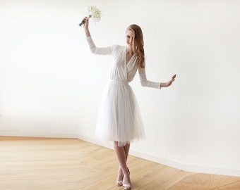 Ivory midi length tulle dress with long sleeves , Reception ivory tulle midi dress