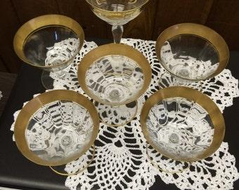 Six Vintage Beveled Glass Wine Glasses