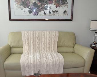 White Blanket Knit Blanket Hand Knit Chunky Blanket Throwff
