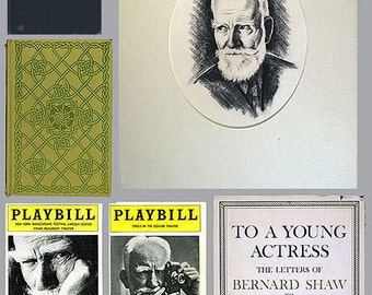 Vintage George Bernard Shaw Instant Collection: 6 Items Original Charcoal Drawing, 3 Books & 2 Theater Programs