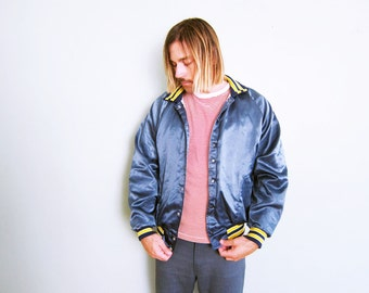 Satin Bomber Jacket / Blue Satin Baseball Jacket / Embroidered  Jacket / Shafter