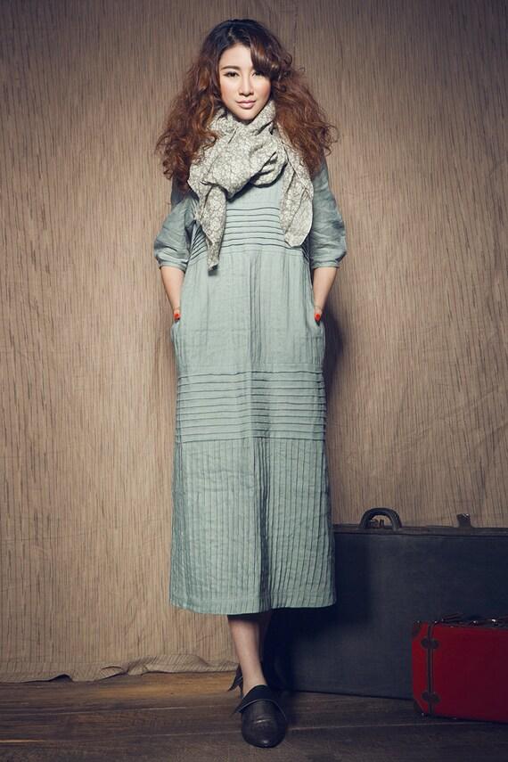 Maxi Linen Dress in Aqua / long linen shirt dress / linen shift dress /Loose Kaftan / Oversized Dresses / Plus size Clothing XL,XXL Custom